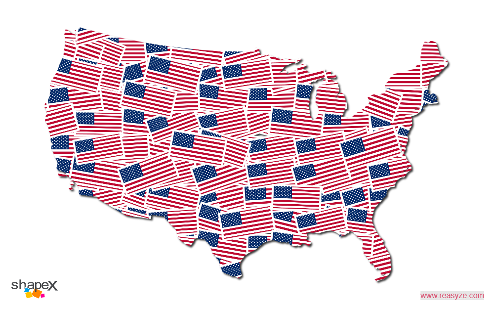 Usa Shape Collage